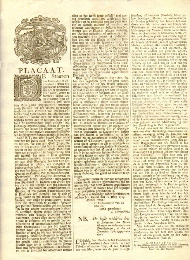 Nieuw in onze collectie! Plakkaat uit 1769 over drenkelingen