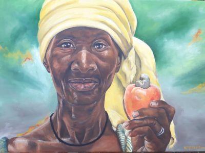 Vrouw met cashew