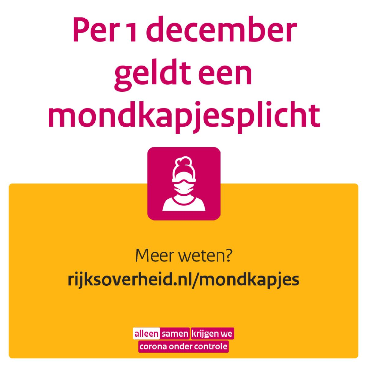 Per 1 december: mondkapjesplicht
