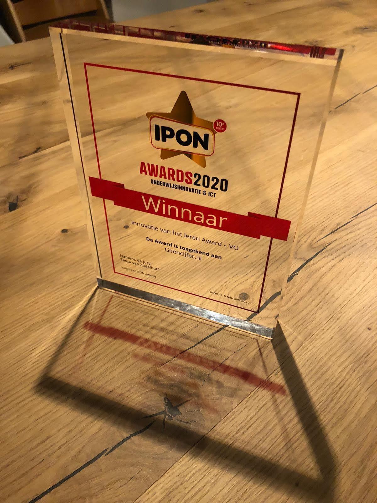 'Geencijfer' winnaar op de IPON awards 2020