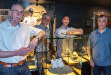 Opening expositie 50 jaar maanlanding - vlnr Ed Hengeveld, Rob van den Berg, Ole Hellfritzsch, Danny van Hoecke
