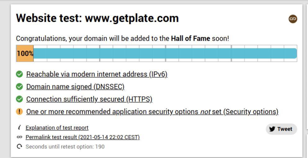 100% score internet.nl test Plate